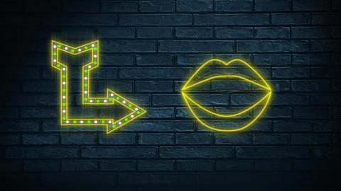 Neon sign showing arrow and lips Animation