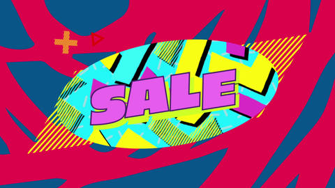 Sale graphic on blue oval with red and blue background 4k Animation