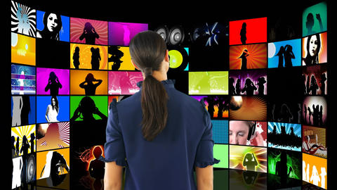Woman watching videos on LCD screens Animation