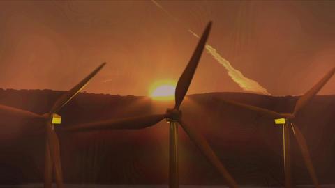 Three wind turbines turning at sunset Animation