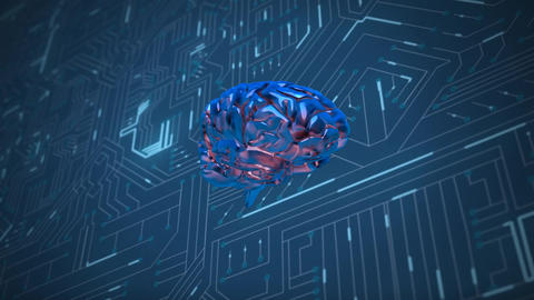 Brain and digital circuit Animation