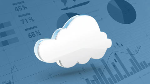 Rotating cloud on a background of graphs and statistics Animation