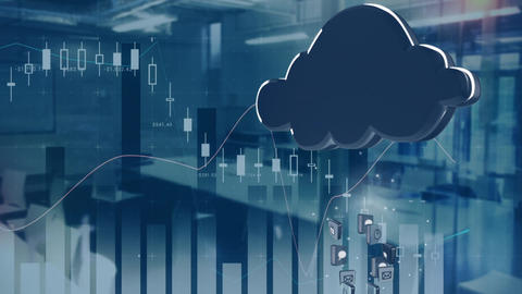 Digital cloud with graphs in an office Animation