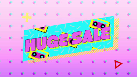 Huge sale graphic in turquoise banner on pink background 4k Animation