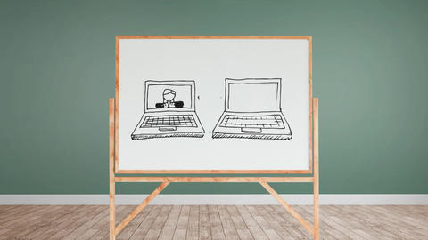 White board with an illustration of internet calling Animation