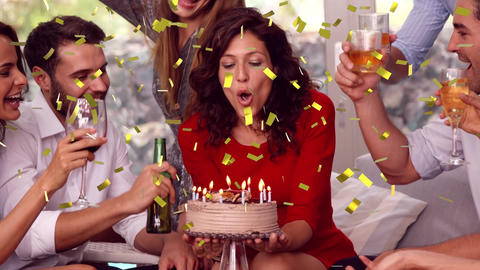 Woman celebrating with friends Animation