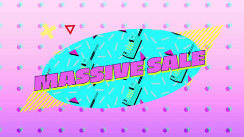 Massive sale graphic in blue oval with moving elements on pink background with dots 4k Animation