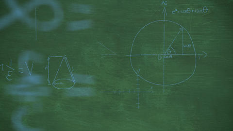 Mathmatical equations written in chalk rising from green chalkboard background 4k Animation