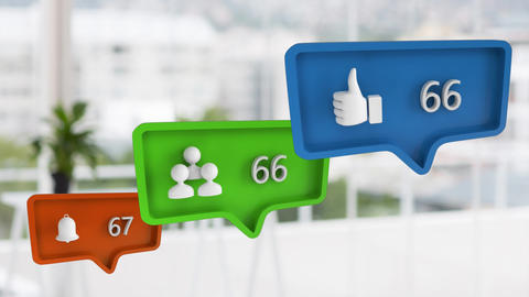 Like, profile, and a bell icon with numbers for social media Animation