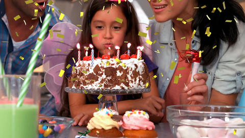 Girl celebrating birthday with family Animation