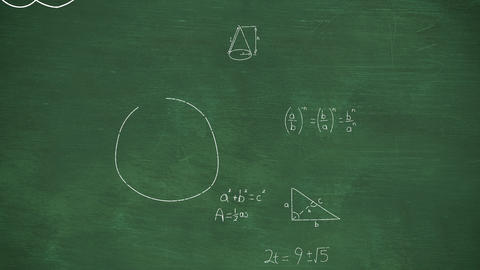 Mathmatical calcualtions written in chalk moving on a green chalkboard 4k Animation