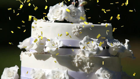 Wedding cake and confetti Animation