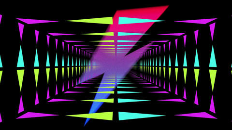 Colourful lightning flashes and moving neon lit tunnel Animation