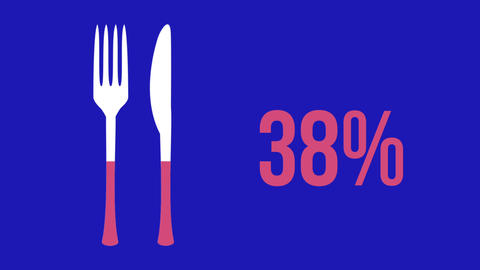 Cutlery shape and increasing percentage filling with colour Animation