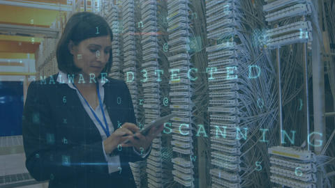 Woman working in server room with moving data security messages Animation