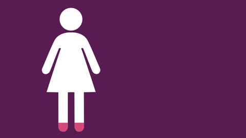 Female symbol filling in pink on purple background 4k Animation