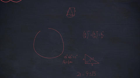 Mathmatical calculations in red floating over a dark background Animation