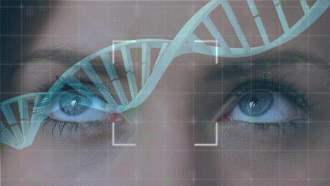 Eyes and DNA double helix Animation
