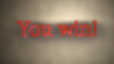 You win! in red neon on grey lit background Animation