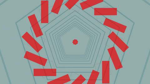 Pentagon outlines and red shapes rotating and moving outwards on a pale grey background Animation