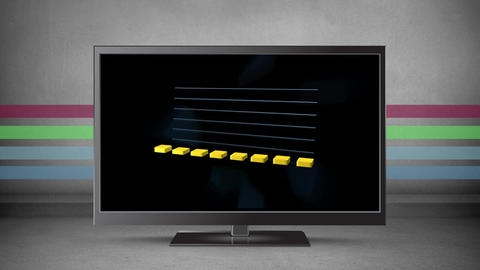 Flat screen television with graphs on its screen Animation