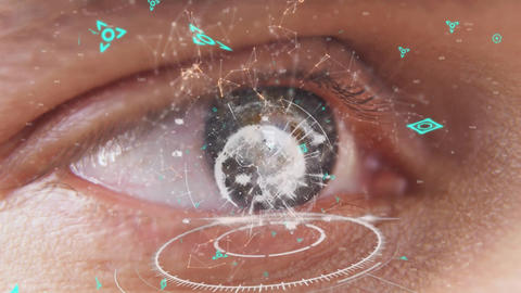 Eye and a digital globe with asymmetrical lines and futuristic symbols Animation