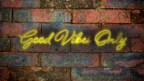 Good vives only in yellow neon on brick wall background Animation