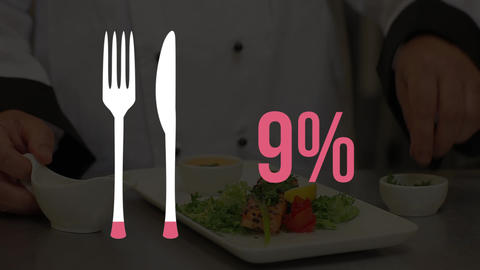 Cutlery icon and increasing percent in pink with chef preparing a dish Animation