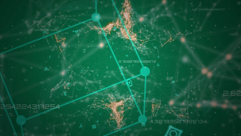3d cube and connecting points in green and orange moving on dark green background Animation