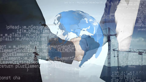 Businessmen shaking hands and a globe with program codes and cranes in the background Animation