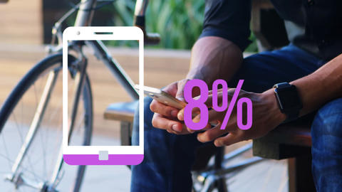 Smartphone icon and increasing percent in pink with man checking watch and holding phone Animation