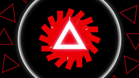 White and red shapes kaleidoscope on a black background Animation