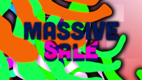 Massive sale graphic and colourful swirls on pink squares Animation