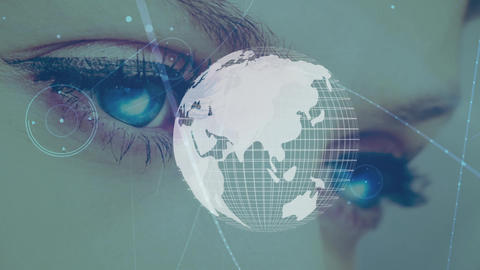 Female eyes and globe with asymmetrical lines Animation