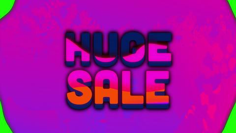 Huge sale graphic and moving colourful blotches on grey background Animation