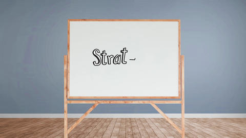 Strategy text written on a white board Animation