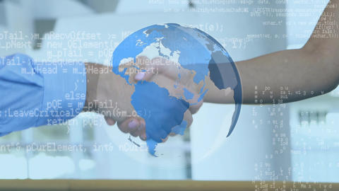 Two person shaking hands and a globe with program codes Animation