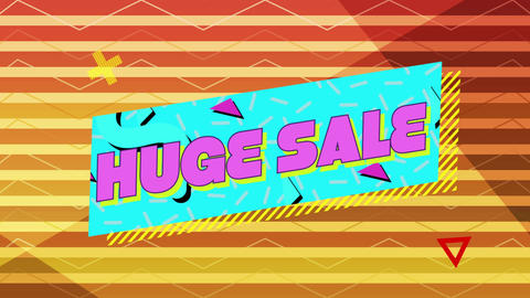 Huge sale graphic in pink on blue banner with orange striped background Animation