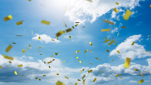View of the sky and confetti Animation