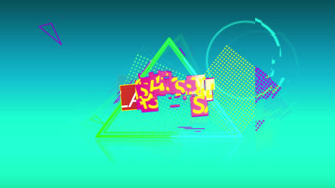 Sale graphic and colourful shapes tumble into place on turquoise background 4k Animation