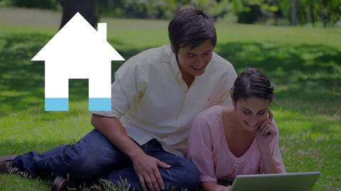 Happy couple outdoors and blue house icon Animation