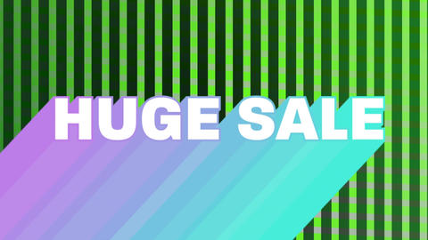 Huge sale graphic on changing green vertical lines Animation