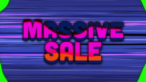 Massive sale graphic with moving coloured shapes and purple horizontal lines Animation