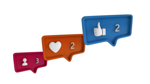 Social media symbols in message bubbles for social media Stock Video Footage