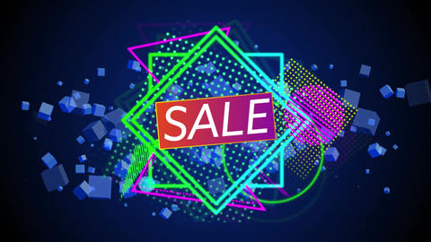 Sale graphic and colourful shapes tumble into place on black Animation