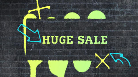 Huge sale stencil painted in green on brick wall 4k Animation