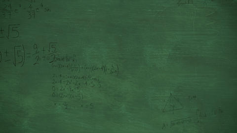 Mathmatical calculations in black moving over a green chalkboard background 4k Animation
