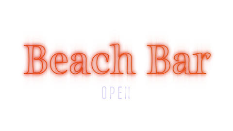Beach Bar open sign in orange on white Animation