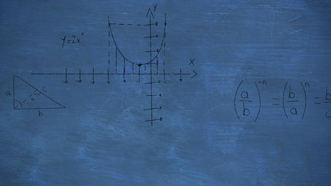 Mathmatical calculations in black floating over a chalkboard background 4k Animation