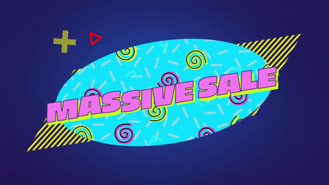 Massive sale graphic in blue oval with moving elements on purple background Animation